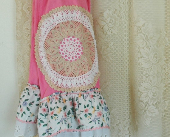 Ruffled Pink Bloomers Fun Farm Girl Embellished Upcycled Vintage Doily Rick Rack Eyelet Lace Ruffles OOAK Womens size L XL
