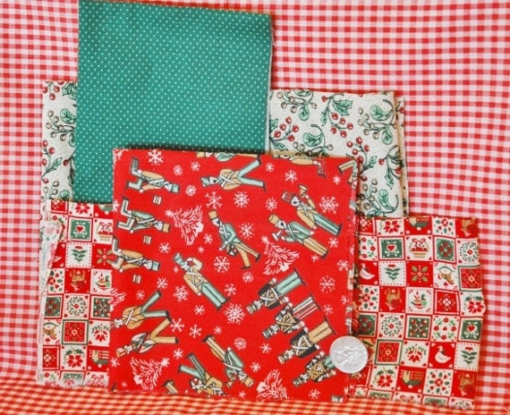 Christmas Happy Scrappy Fabric Pack  Stash Builder one half Yard of Fabric Plus Your Choice of Bias Tape, Rick Rack, OR Ribbon