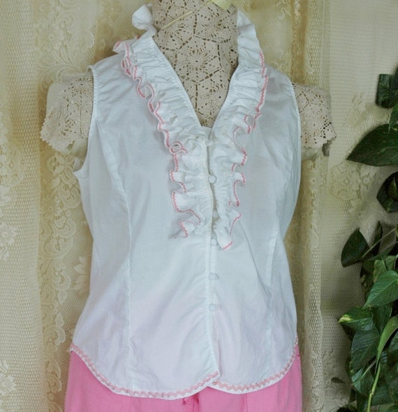 Ruffled White Sleeveless Button Front Cotton Blouse Farm Girl Shabby Chic Pink Vintage Rick Rack Embellished Upcycled Womens size L XL