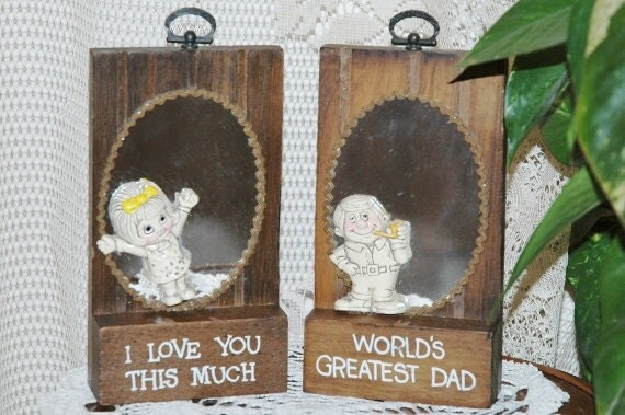 World's Greatest Dad Wooden Plaque with Mirror and Smiling Man with Pipe Figure 1970s Wallace Berrie Gift Ric Rac Rick Rack Embellished