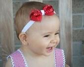 Red And White Polka Dots Headband/Baby Headband/infant headband/Red Headband/Newborn Headband/Photo prop/Elastic Headband