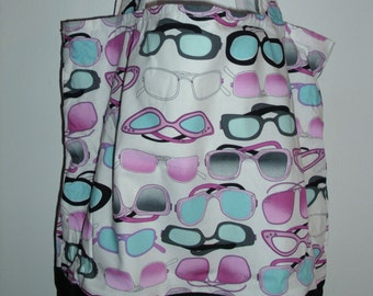 Handmade tote bag, sunglasses themed,  Spring Cleaning sale was 15.00 Now 10.00