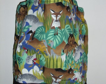Handmade tote bag, diaper bag, jungle whimiscal animals,   Spring Cleaning sale was 15.00 Now 10.00