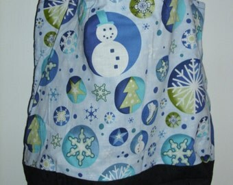 Handmade tote bag, diaper bag,  snowman  print,  Spring Cleaning sale was 15.00 Now 10.00