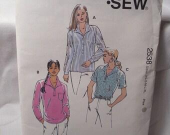 Vintage Kwik sew sewing pattern 2538, size: XS, S, M, L, XL, misses shirts
