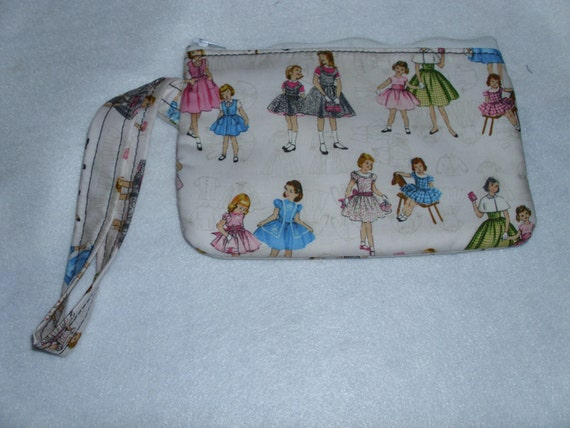 Handmade Coin Purse, wallet, change, make-up case, 50's girl pattern print