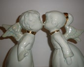 Vintage Set Of Kissing Christmas Angels Boy and Girl Trimmed in Gold 1970 - LaGaleriaDeDual