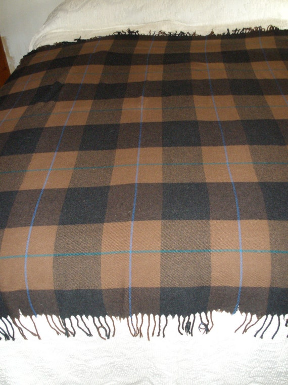 Vintage Plaid 100% Lambs wool made in Italy stadium Blanket with fringe
