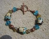 Beaded Lampwork Owl Bracelet