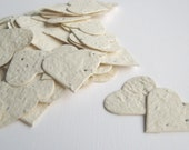 "READY-TO-SHIP***  1"" Ivory Plantable Seed Paper Hearts -  Eco Friendly,  Wedding Favors, Bridal Shower Favors, Baby Shower Favors"