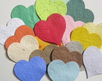 50 Plantable Seed Paper Hearts - Large Size (3x3), Great for Wedding Favors, Anniversaries and More