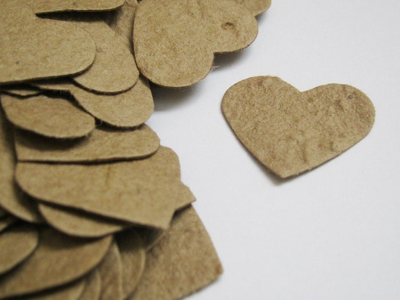"""100 - 1"""" Plantable Seed Paper Hearts Confetti - Recycled Brown Kraft - Eco Friendly,  Wedding Favors, Bridal Showers, Cards & Crafts"""