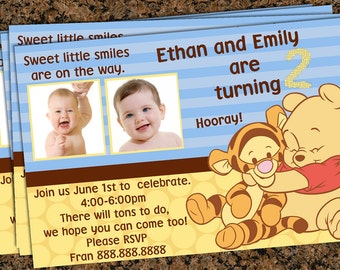 Baby first birthday (Winnie the pooh) Can also be used as announcements or made for twins