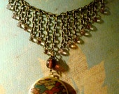Art Locket Bib Necklace-Butterfly Collage with Glass Briolette Beads-h292