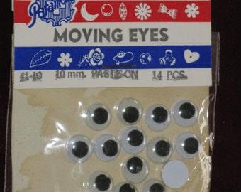 Vintage Package of Moving Eyes Crafts Crafting set of 14 Paramount Novelties Made in U.S.A. FUN