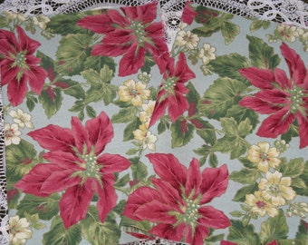 """Fabric Cotton Beautiful Poinsettia Floral Large Print   - Quilt Craft Blocks 10"""" x 14"""" - Two"""