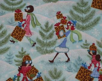 Fabric Cotton Print Christmas Holiday Shoppers Glam Fashion Ladies  - Springs Print - 1/4 Yard - PRETTY