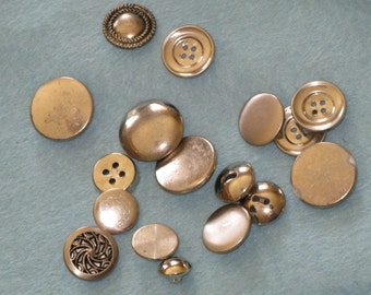 Vintage Buttons Mixed Lot of 16 - Metal Buttons - Assorment of Sizes, All Silver Metal Great for Crafting & Sewing