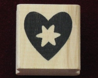 Rubber Stamp Heart and Star Wood Mounted Stamp new