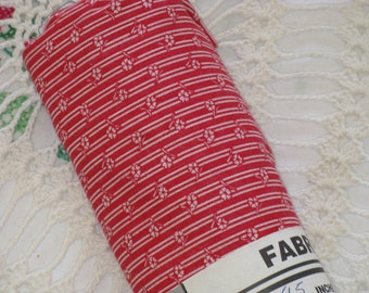 "Vintage Cotton Fabric RED and WHITE Flower  Calico Stripe  2 Yards  44"" Wide  - 1980's Material - Store Remnant in Orignal tag"