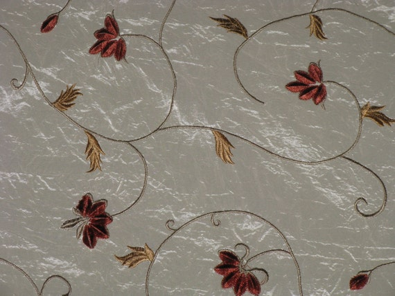"""Fabric Sample Cream color Polyester and Nylon with Rayon Embroidery Flowers and Leaves 13"""" x 17"""" PRETTY"""
