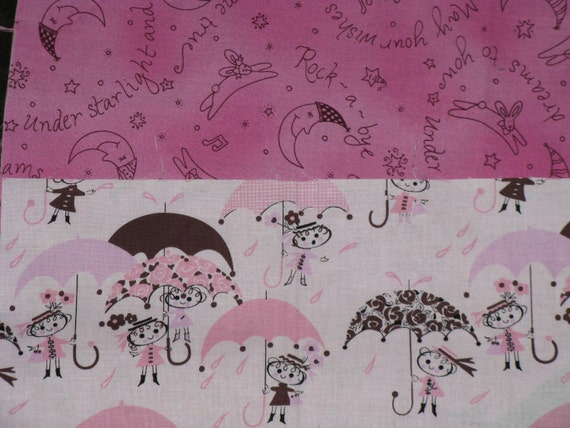 Cotton Fabric Scraps Little Girls and Umbrellas Retro Vintage Style and Sweet Dreams Pink Prints