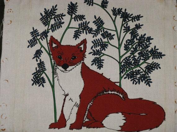Vintage fabric linen screen print fox animal sara popovits for Fox print fabric