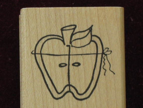 Apple Art Rubber Stamp Wood Mounted Imaginations CUTE
