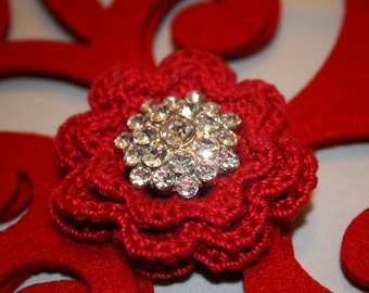Crocheted pin button brooch flower crochet shabby chic