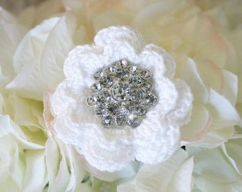 Wedding crocheted hair flower button crochet wedding shabby chic