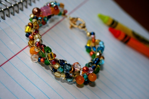 multi colored crocheted beaded bracelet