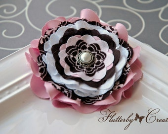 Multi Fabric Flower Fascinator in Pink, White & Brown Clip / Brooch Pin Corsage Combo