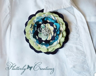 Multi Fabric Flower Fascinator in Navy, Lime Green & Turquoise Clip / Brooch Pin Corsage Combo