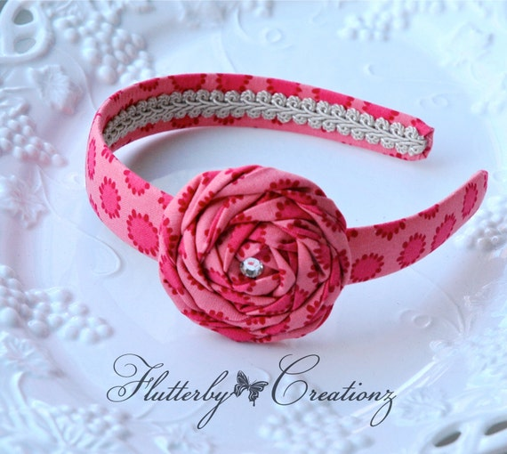 Pink Fabric Rosette Flower attached to Matching Fabric Covered Headband