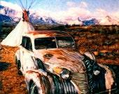 "Marcia Duff - Cadillac  and Tepee 8"" X 8"" Fine Art Photo"