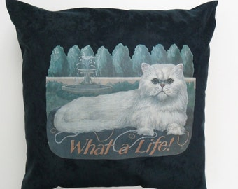 Persian Cat Throw Pillow Cover ( green, white, 16 x 16, square, bedding, cushion covers, what a life design, faux suede)