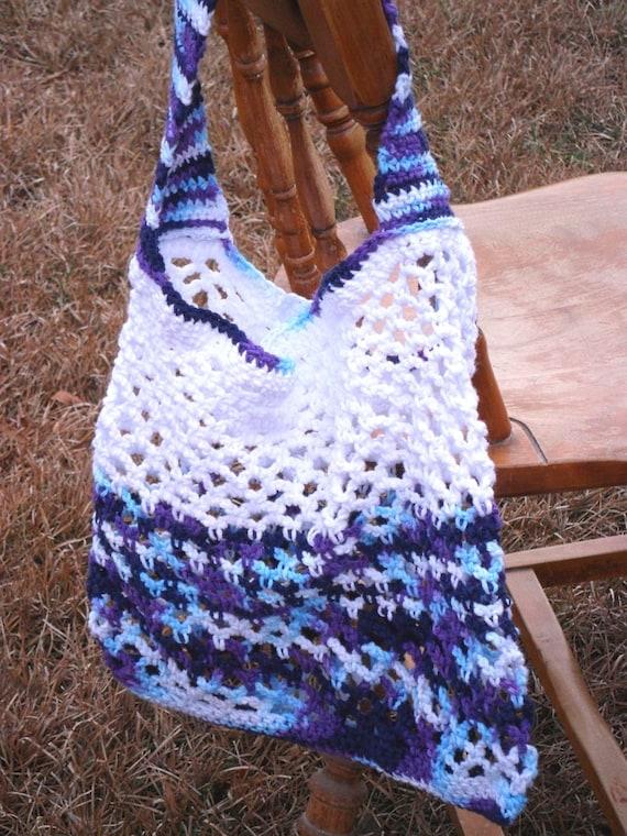 Crochet Vegetable Bag Pattern : White Purple Crochet Produce Bag blue market by ...