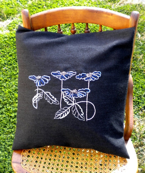 Retro Pillow Cover Black Heathered with Shades of Blue Flowers (flowing across the front, mint, hand embroiderer, 18 x 18 inches)