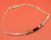 Reserved for a special client, Black Crystal Bracelet, Black, Swarovski Crystal, Shades of Black, Sterling Silver