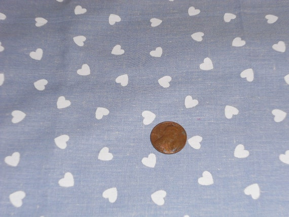 Special Order  For Colette Pujol  1.5 yards Chambray Cotton Fabric with White Hearts