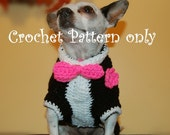 Instant Download Crochet  Pattern - Tuxedo Dog Sweater - Small Dog Sweater 2-20 lbs