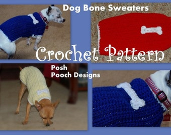 Instant Download Crochet Pattern- Dog Sweater with Dog Bone Applique - Small Dog