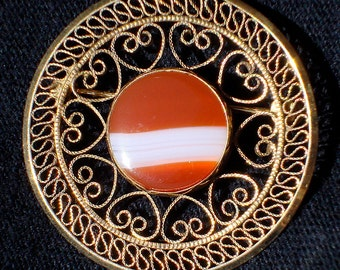 Vintage Filigree Banded and Carnelian Brooch or Pin by WINARD