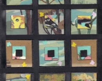 Original Mixed Media on Black Canvas Yellow Bird in a Garden