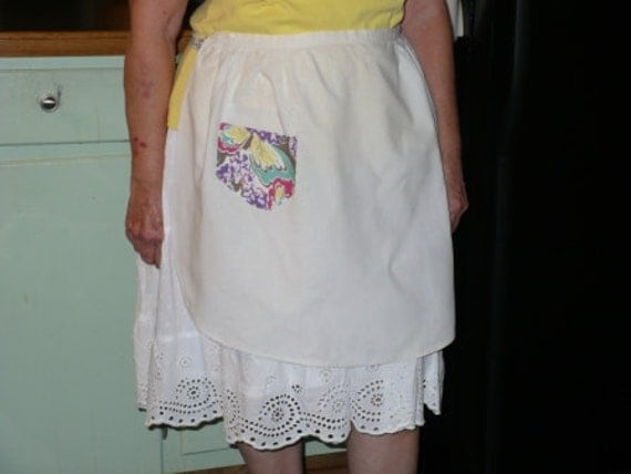 Vintage White Muslin Half Apron with Multi Colored Pocket and Ties