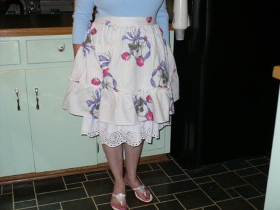 Vintage Blue and White Stripe Half Apron Printed with Rose Bouquets.