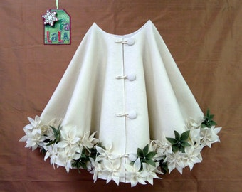 "65"" Christmas Tree Skirt in  Ivory felt with hand cut and hand sewn flowers at the hem with random  green flowers. FREE SHIPPING"