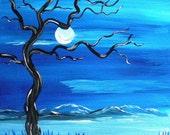 Blue Moon, Original Painting, Fantasy Art, Midnight Moon, Surreal Art, Fine Art, Decor, SALE get half off, use coupon code FEB50