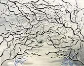 White Snow, Original Painting, Winter Art, Fine Art, Winter Wonderland, Bluebird in Snow Painting
