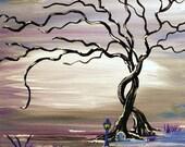 Love, Purple Haze, Original Painting,Tree, Fantasy, Fairy Door, Surreal Art, Fine Art, February SALE get half off, use coupon code FEB50